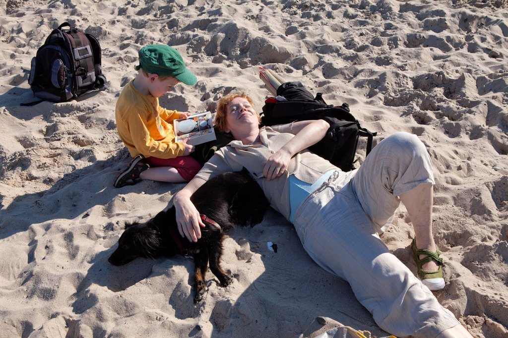 Mother and son on a beach, Kuehlungsborn_West, Mecklenburg_Western Pomerania, Germany, Europe : Stock Photo
