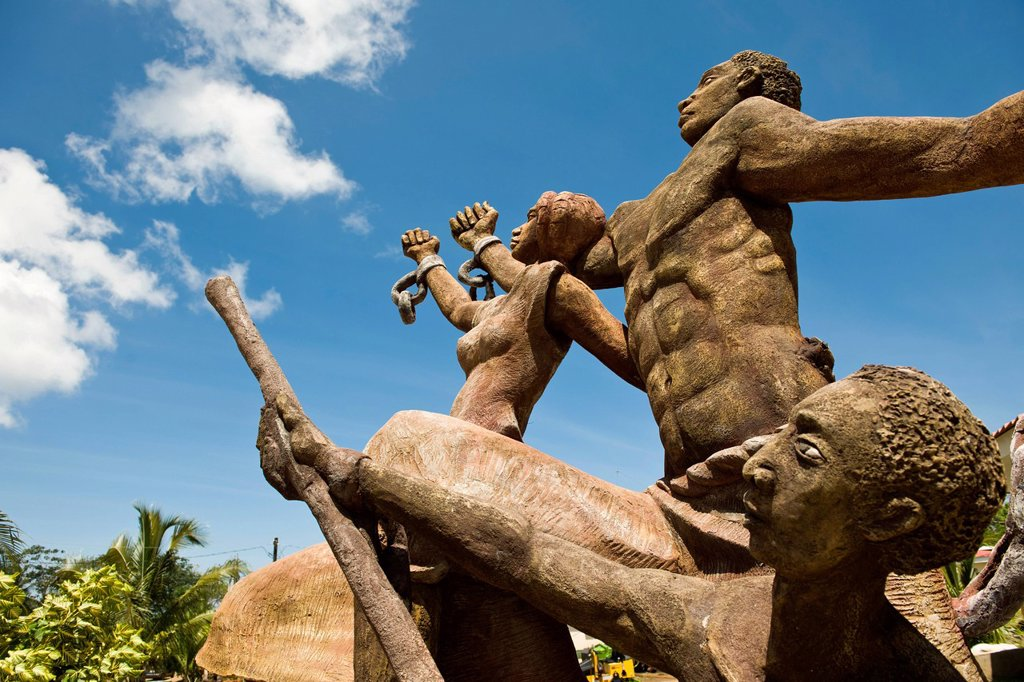 Stock Photo: 1848-709297 Sculpture celebrating the abolishment of slavery, Big Corn Island, Caribbean Sea, Nicaragua, Central America