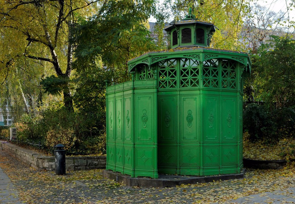 Typical historic cast iron public toilet from the 19th century in Berlin, renovated, nicknamed Café Achteck, Chamissoplatz square, Kreuzberg, Berlin, Germany, Europe : Stock Photo