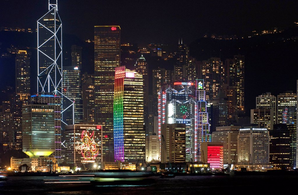 Stock Photo: 1848-709422 Laser light show on the skyscrapers of the Central District of Hong Kong Island as seen from Kowloon, Hong Kong, China, Asia