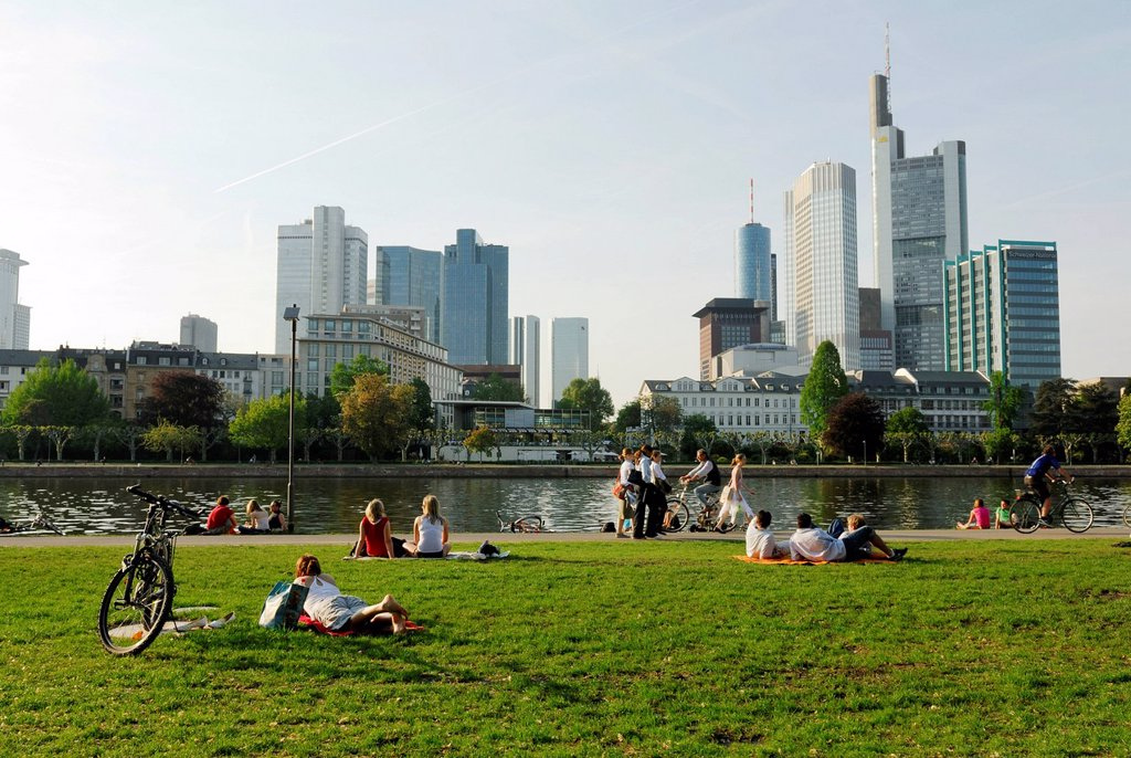 Stock Photo: 1848-709607 Lawn on the Main river, skyline of the financial district, Frankfurt am Main, Hesse, Germany, Europe, PublicGround