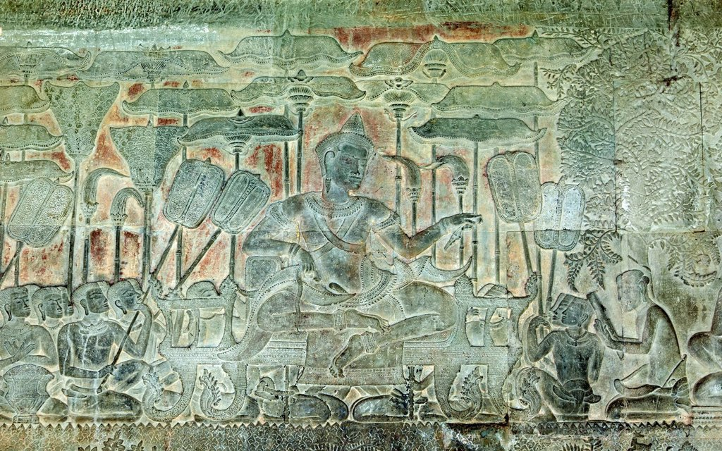 Stock Photo: 1848-709679 Section of the western side bas_relief in the South Gallery, representing King Suryavarman II, the builder of Angkor Wat, Angkor Wat Temple Complex, Angkor, Cambodia, Southeast Asia, Asia