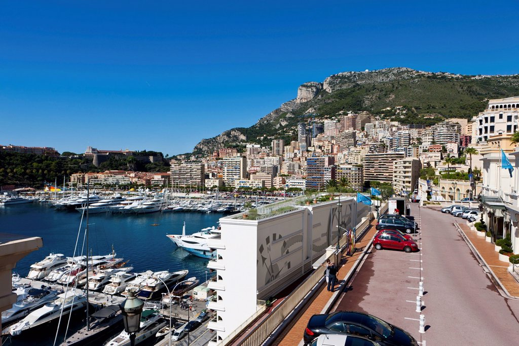 View from Ave de Ostende towards the port and Monte Carlo, Principality of Monaco, Europe, PublicGround : Stock Photo