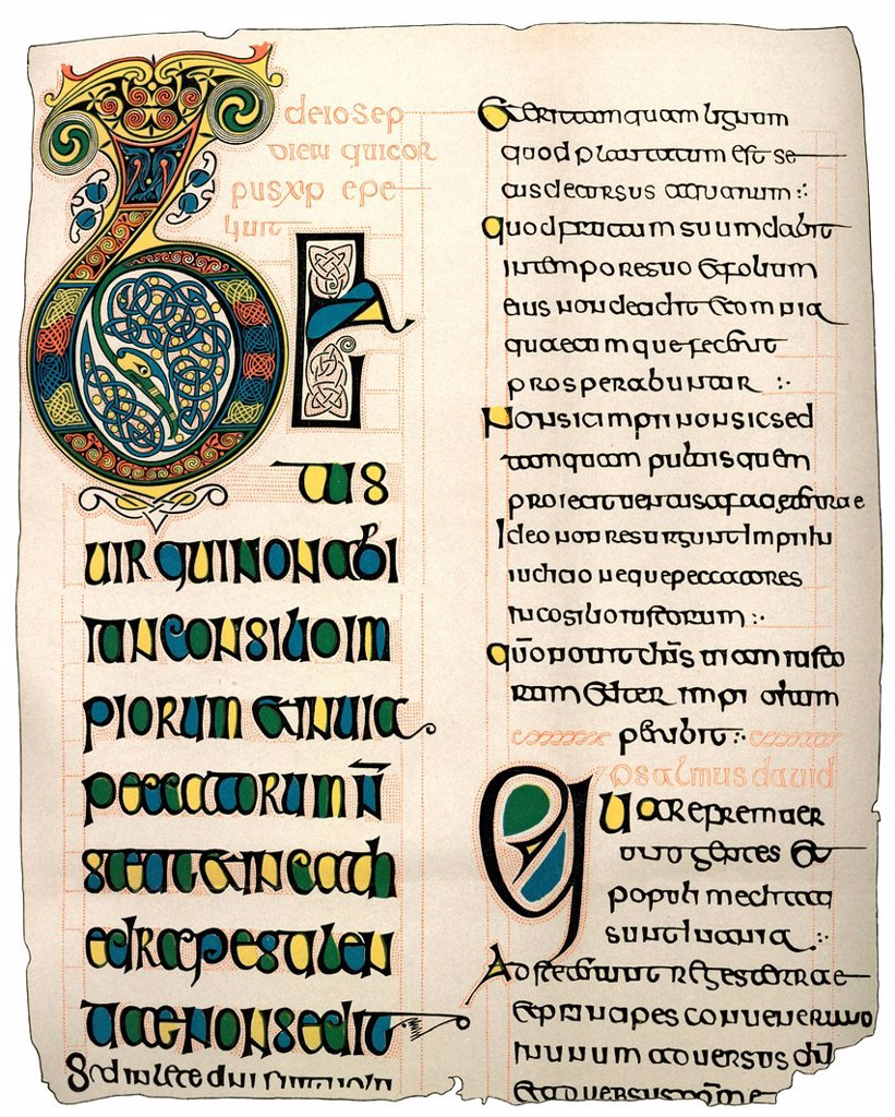 Historical engraving from the 19th Century, page from a Psalter in Irish writing from the 7th Century : Stock Photo
