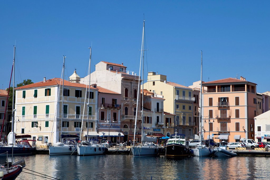 Port of the city of Maddalena in Parco Nazionale dell ´Archipelago di La Maddalena, La Maddalena Archipelago National Park, Sardinia, Italy, Europe : Stock Photo