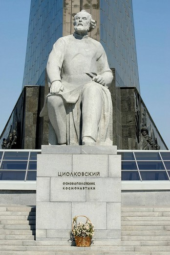 Stock Photo: 1848-70985 Statue of the founder of astronautics, Russian scientist Konstantin Tsiolkovski, Moscow, Russia