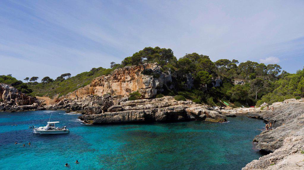 Stock Photo: 1848-709867 Rocky coast near Cala s´Almunia, Majorca, Spain, Europe
