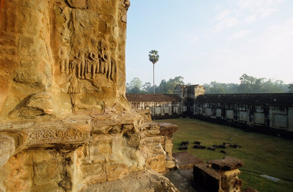 Stock Photo: 1848-709874 Rock carvings, Angkor Wat, Siem Reap, Cambodia, Southeast Asia