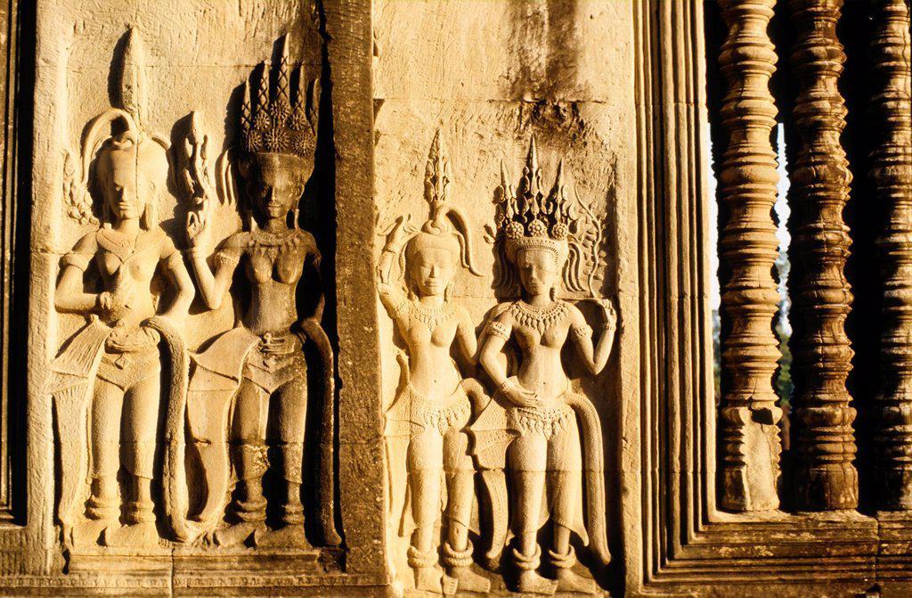 Rock carvings, Angkor Wat, Siem Reap, Cambodia, Southeast Asia : Stock Photo
