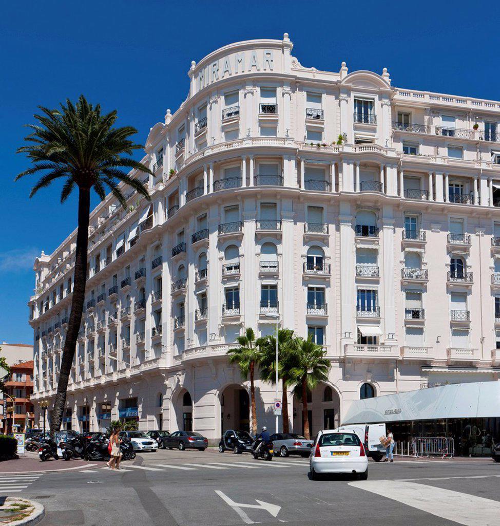 Stock Photo: 1848-710114 Miramar Hotel, La Croisette, Cannes, Côte d'Azur, Southern France, France, Europe, PublicGround