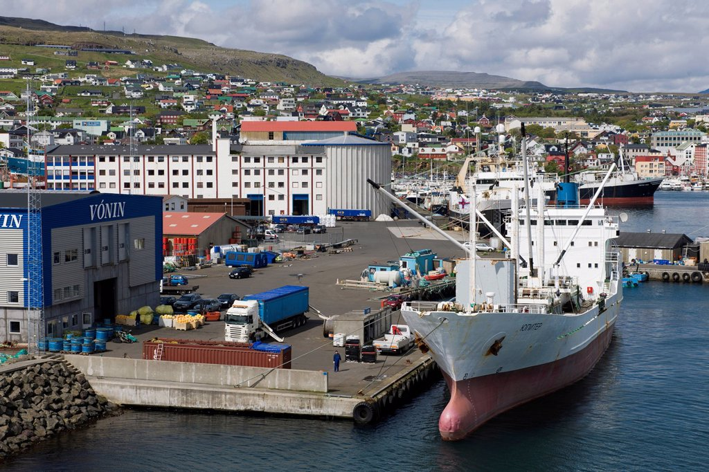 Port of Tórshavn on Streymoy, capital of the Faroe Islands, group of islands in the North Atlantic, Denmark, Northern Europe : Stock Photo