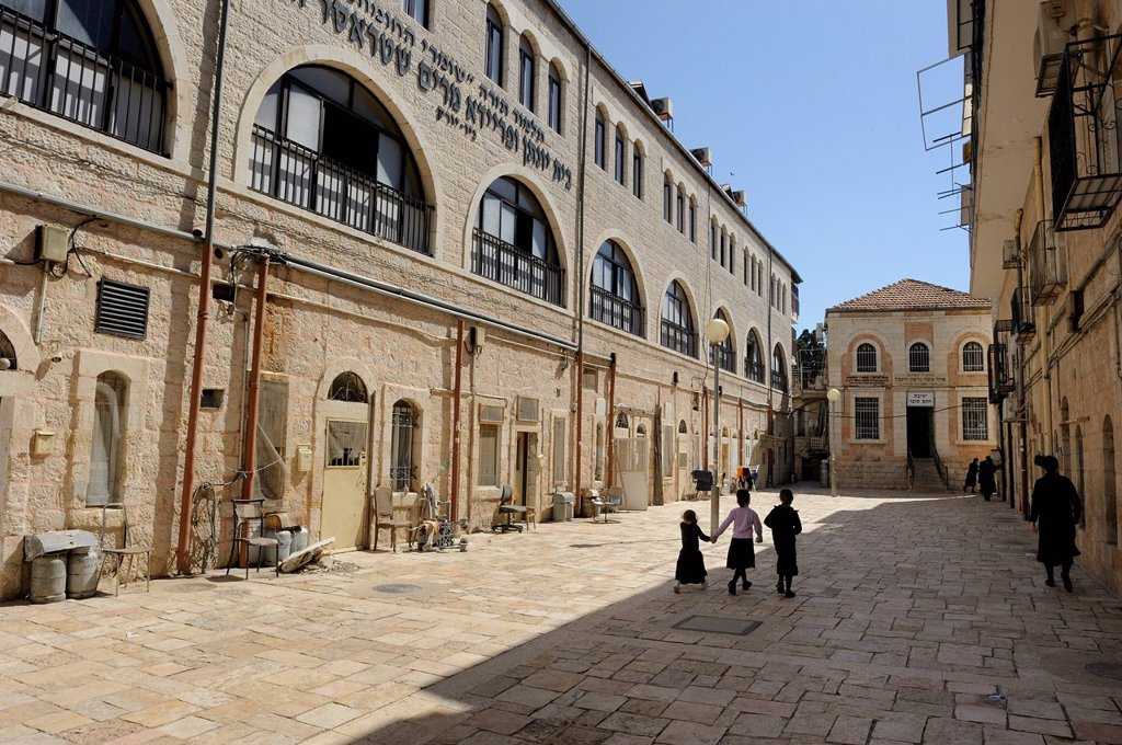 School in the district of Me´a She´arim or Mea Shearim, Jerusalem, Israel, Middle East : Stock Photo
