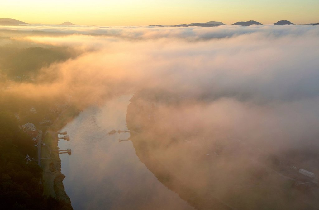 View from the Bastei rock formation of Elbe river and Elbtal valley, Saxon Switzerland, Saxony, Germany, Europe : Stock Photo