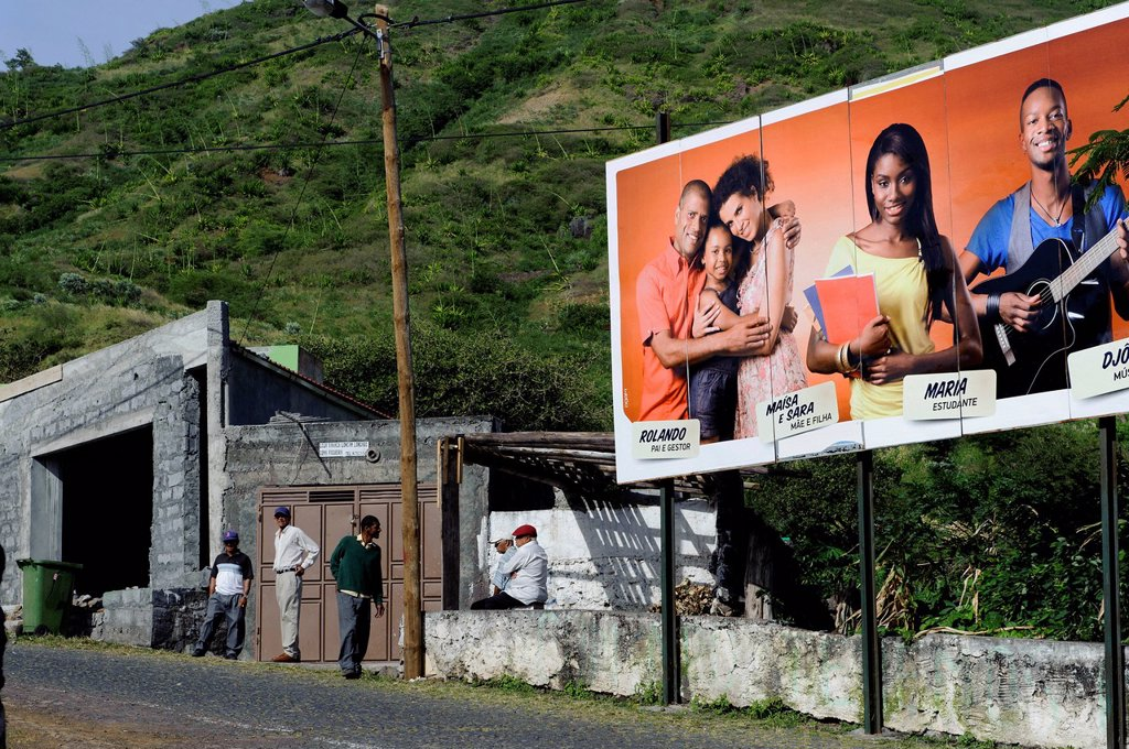 Stock Photo: 1848-710663 Advertising poster in a street, Cova Figueira, Fogo, Cape Verde, Africa
