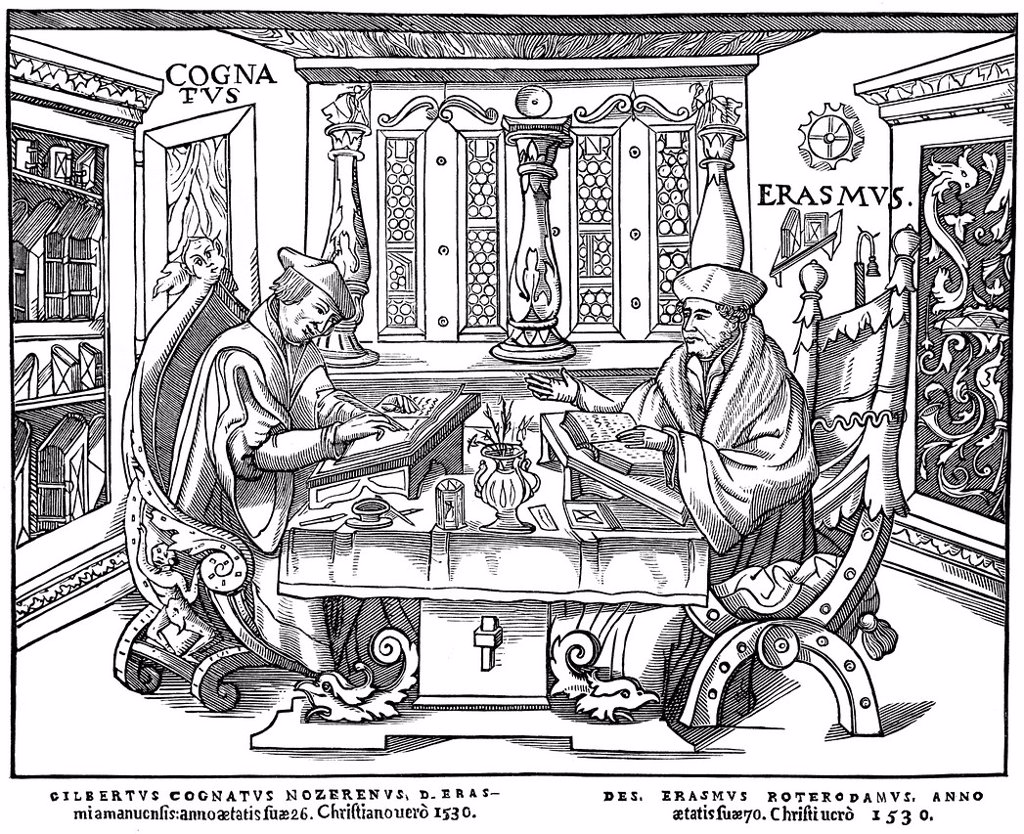 Historical illustration from the 19th century, the study of Erasmus Desiderius of Rotterdam, 1465 _ 1536, a Dutch humanist, theologian, philosopher, scholar and author, with his clerk Gilbert Cognatus : Stock Photo