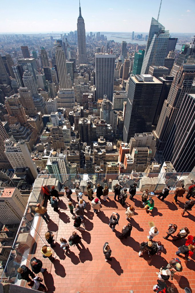 Stock Photo: 1848-710708 Viewing platform, view from the Rockefeller Center towards the skyline with the Empire State Building, New York City, New York, United States, North America
