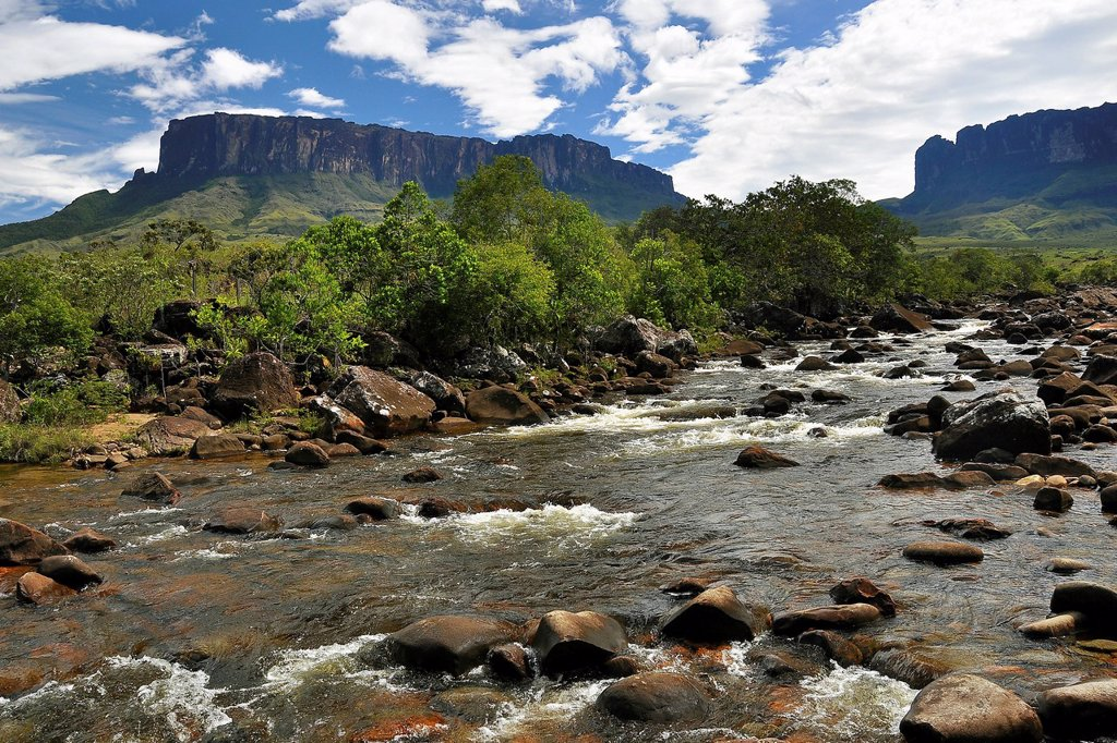 Stock Photo: 1848-710896 River in front of Kukunan and Roraima table mountains, highest mountain of Brazil, tri_border region Brazil, Venezuela, Guyana on the high plateau, South America