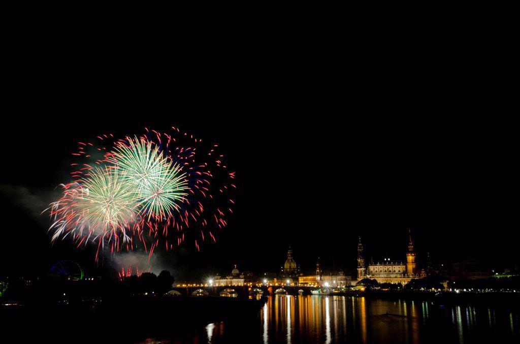 Stock Photo: 1848-711211 Fireworks illuminating the historic part of the city, seen from Marienbruecke bridge, Dresden, Saxony, Germany, Europe