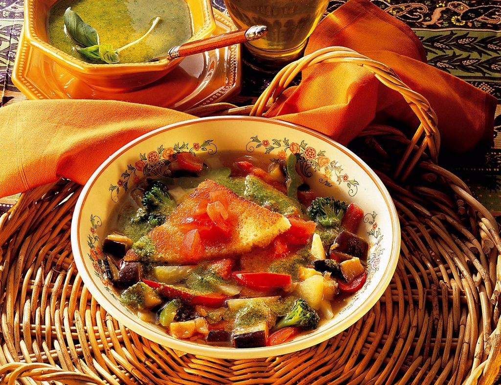 Stock Photo: 1848-711425 Provencal vegetable soup with pistou, vegetarian stew, France, recipe available for a fee