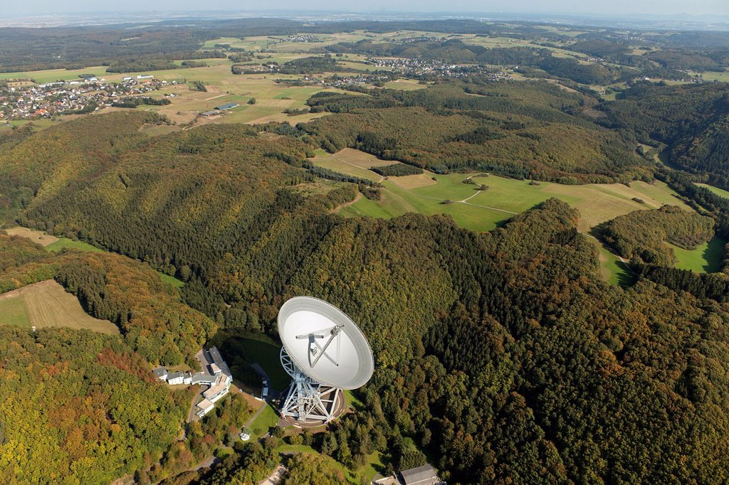 Stock Photo: 1848-711444 Aerial view, radio telescope, Effelsberg, Bad Muenstereifel, Eifel mountain range, North Rhine_Westphalia, Germany, Europe