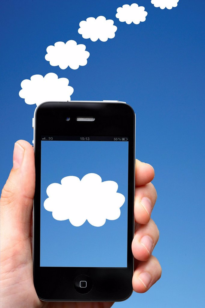 Stock Photo: 1848-711587 IPhone, clouds, sky, symbolic image for cloud computing, cloud