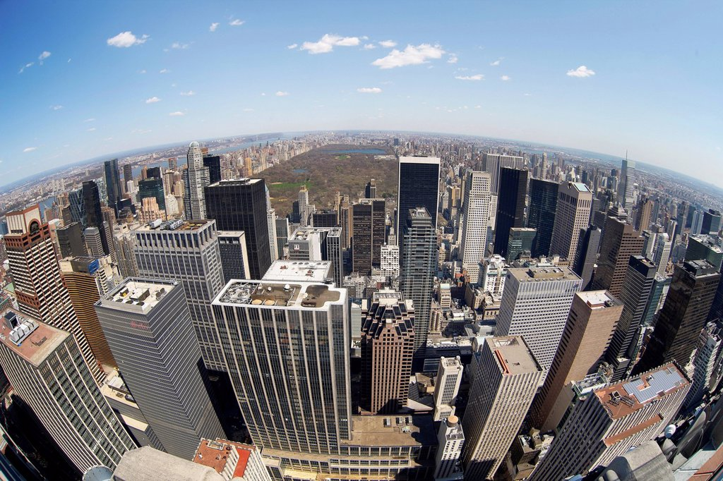 View from Rockefeller Center over the skyline with Central Park, New York City, New York, United States, North America : Stock Photo