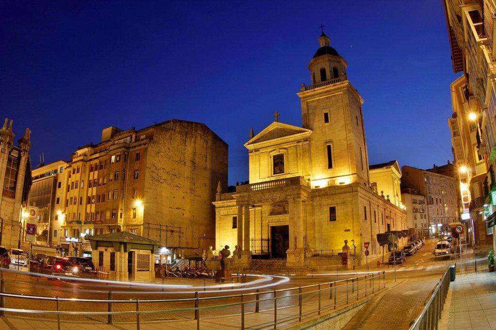 Stock Photo: 1848-711624 Iglesia de San Francisco church at dusk, Santander, Spain, Europe