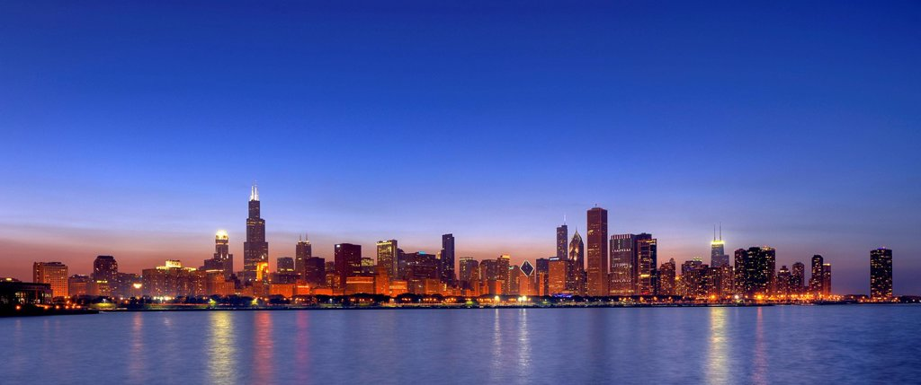 Stock Photo: 1848-711845 Skyline, skyscrapers, Willis Tower, formerly Sears Tower, 311 South Wacker, John Hancock Center, Aon Center, 77 West Wacker Drive, Two Prudential Plaza, Smurfit_Stone Building, Trump International Tower, dusk, Lake Michigan, Chicago, Illinois, United Stat. Skyline, skyscrapers, Willis Tower, formerly Sears Tower, 311 South Wacker, John Hancock Center, Aon Center, 77 West Wacker Drive, Two Prudential Plaza, Smurfit_Stone Building, Trump International Tower, dusk, Lake Michigan, Chicago, Illinois,