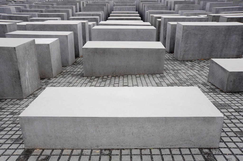 Stock Photo: 1848-711897 Holocaust Memorial to the Murdered Jews of Europe, by architect Peter Eisenman, Berlin Mitte, Germany, Europe