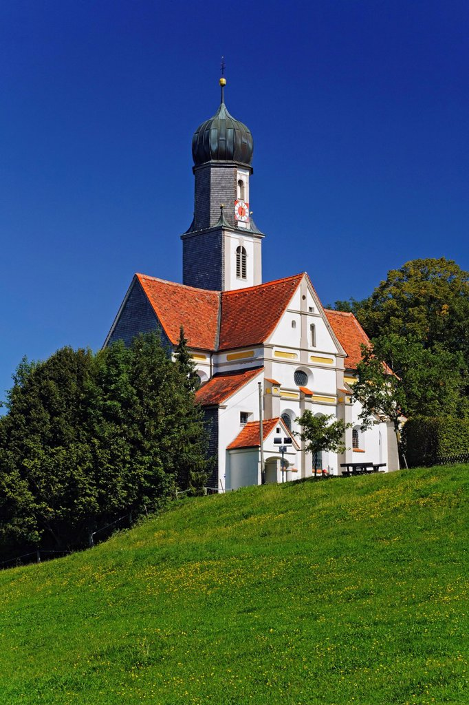 Stock Photo: 1848-712047 Pilgrimage church of St. Ottilia, Ostallgaeu, Hoermanshofen, Allgaeu, Bavaria, Germany, Europe, PublicGround