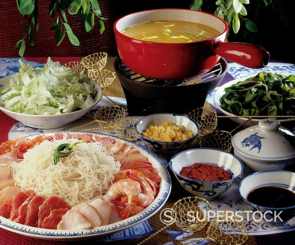 Chinese hot pot, China, recipe available for a fee : Stock Photo
