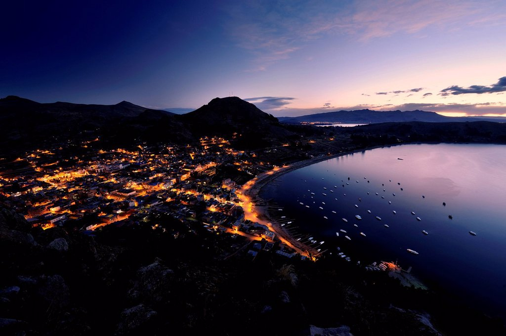 Stock Photo: 1848-712379 Blue Hour at the Copacabana, Bolivia, South America