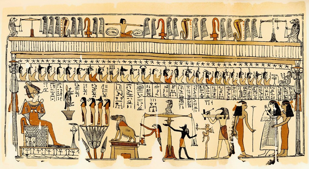 Stock Photo: 1848-712491 Historical print from the 19th century, papyrus, the Underground Court of Osiris for the Judgement of the Dead, Thebes, Egypt