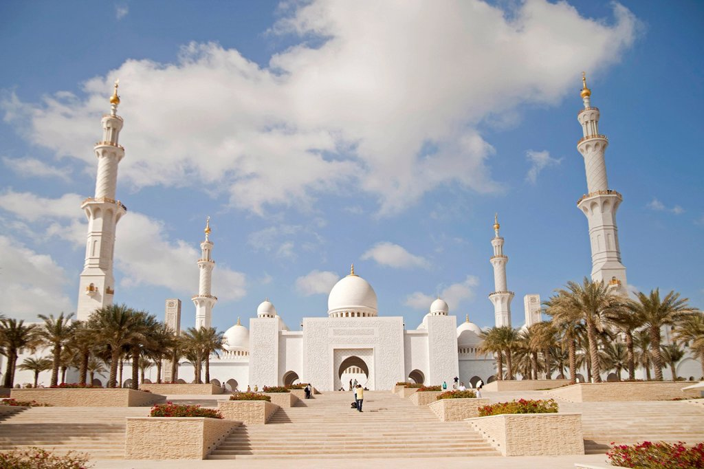 Stock Photo: 1848-712514 Sheikh Zayed Mosque in Abu Dhabi, United Arab Emirates, Asia