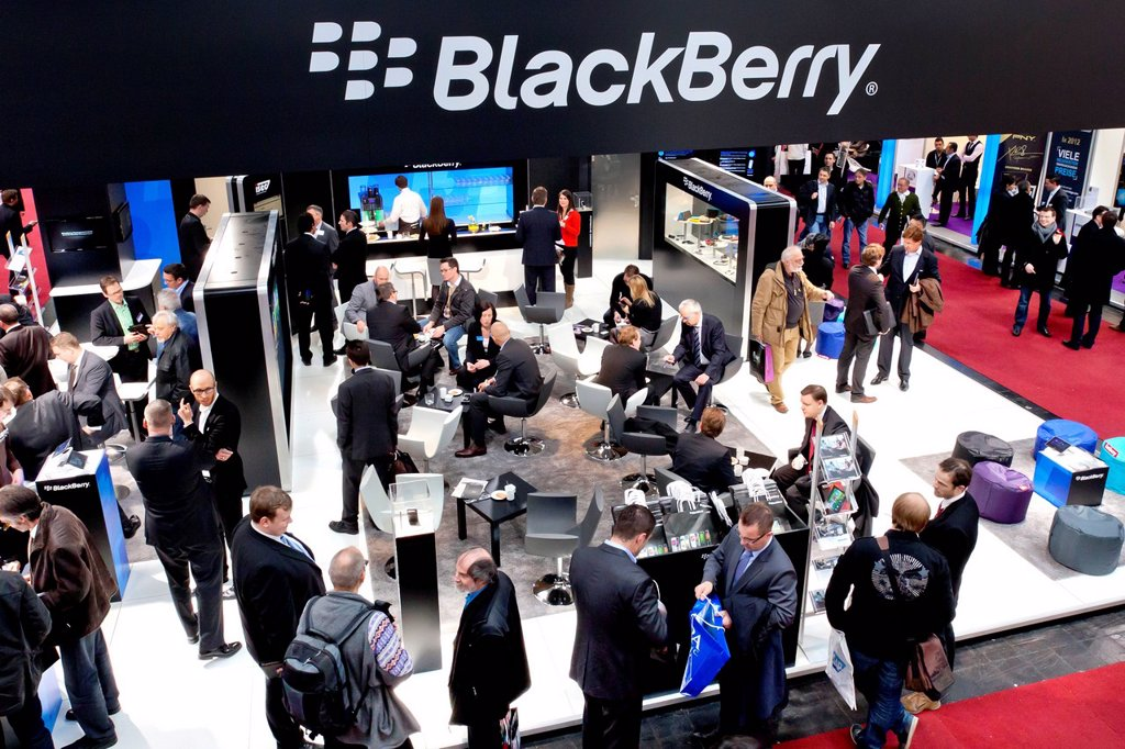Stock Photo: 1848-712562 BlackBerry exhibition stand, Canadian smartphone manufacturer RIM, Research In Motion, CeBIT international computer expo, Hannover, Lower Saxony, Germany, Europe