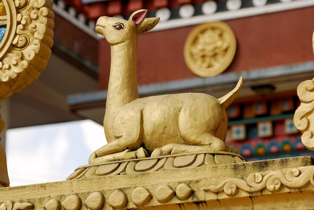 Golden deer, sculpture at temple, Kathesimbhu Stupa, Kathmandu, Nepal, Asia : Stock Photo