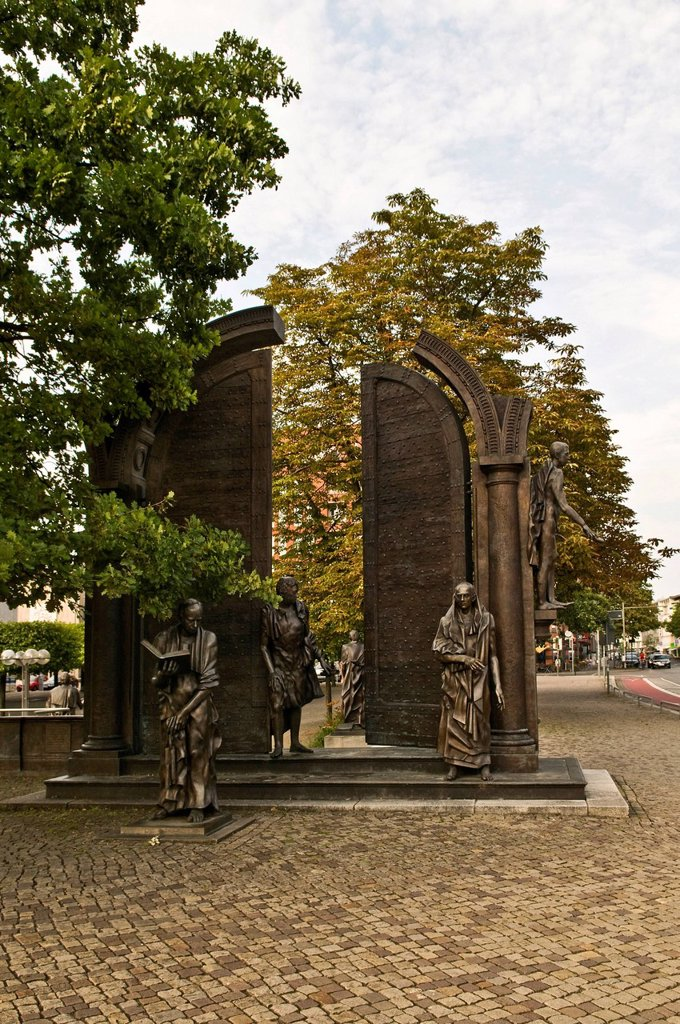 The Goettingen Seven, monument commemorating the courage of the Goettingen Seven who fought the violation of the constitution in 1837, designed by Floriano Bodini, 1995_1998, Hannover, Hanover, Lower Saxony, Gemany, Europe : Stock Photo
