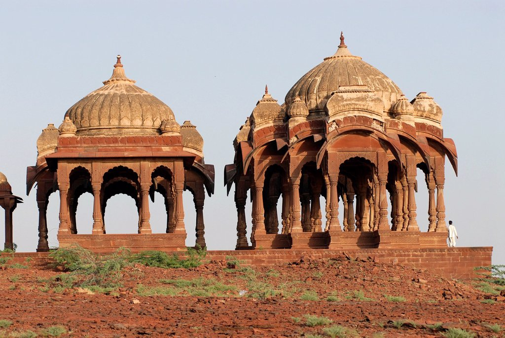 Stock Photo: 1848-712683 Chhatris, grave monuments in the cemetery of the Maharajas of Pokaran, Pokaran, Rajasthan, North India, India, Asia