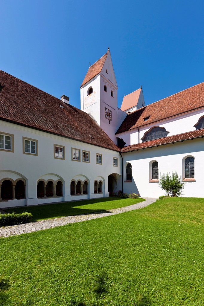 Stock Photo: 1848-712804 Parish church of St. John the Baptist, old Premonstratensian abbey church, Steingaden, Upper Bavaria, Bavaria, Germany, Europe, PublicGround