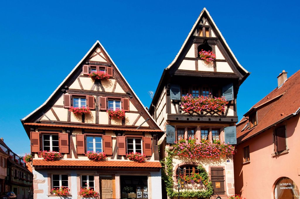 Half_timbered houses in Dambach la Ville, Alsace, France, Europe : Stock Photo