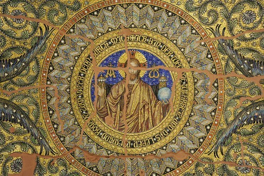 Stock Photo: 1848-713238 Mosaic on the ceiling of the entrance hall of the Kaiser_Wilhelm_Gedaechtniskirche, Kaiser Wilhelm Memorial Church, in Berlin Charlottenburg, Germany, Europe