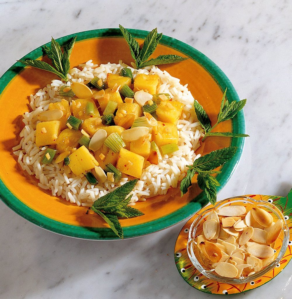 Pineapple curry on basmati rice, Indonesia, recipe available for a fee : Stock Photo