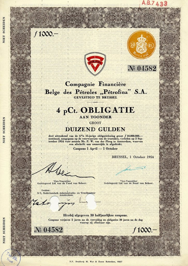 Stock Photo: 1848-713864 Historical share certificate, value 1000 Guilders, Compagnie Financiere Belge des Petroles Petrofina SA, petroleum production, petrol stations, merged with Total_Fina now part of Elf Aquitaine, TotalFinaElf, 1954, Brussels, Belgium, Europe