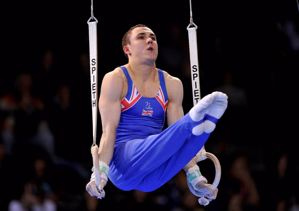 Stock Photo: 1848-713999 Samuel Hunter, GBR, performing on still rings, EnBW Gymnastics World Cup, 11 to 13 Nov 2011, 29th DTB Cup, Porsche_Arena, Stuttgart, Baden_Wuerttemberg, Germany, Europe
