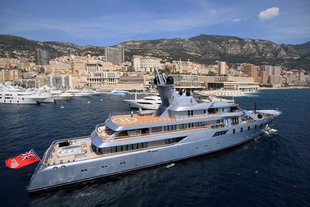 Pacific, cruiser, built by Luerssen Yachts, 85 m, built in 2010, Principality of Monaco, French Riviera, Mediterranean Sea, Europe : Stock Photo