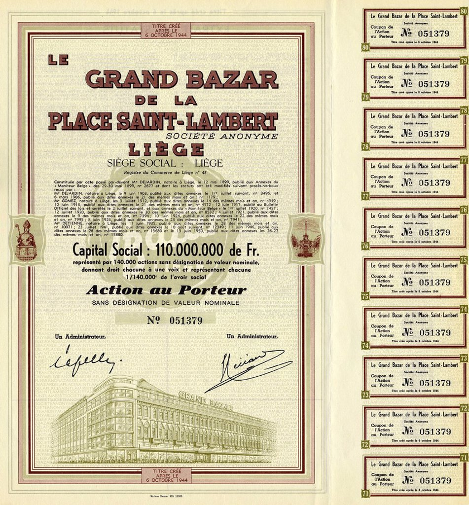 Historical share certificate for shopping centre in Liege, Le Grand Bazar de la Place Saint Lambert, 1944, Liege, Belgium, Europe : Stock Photo