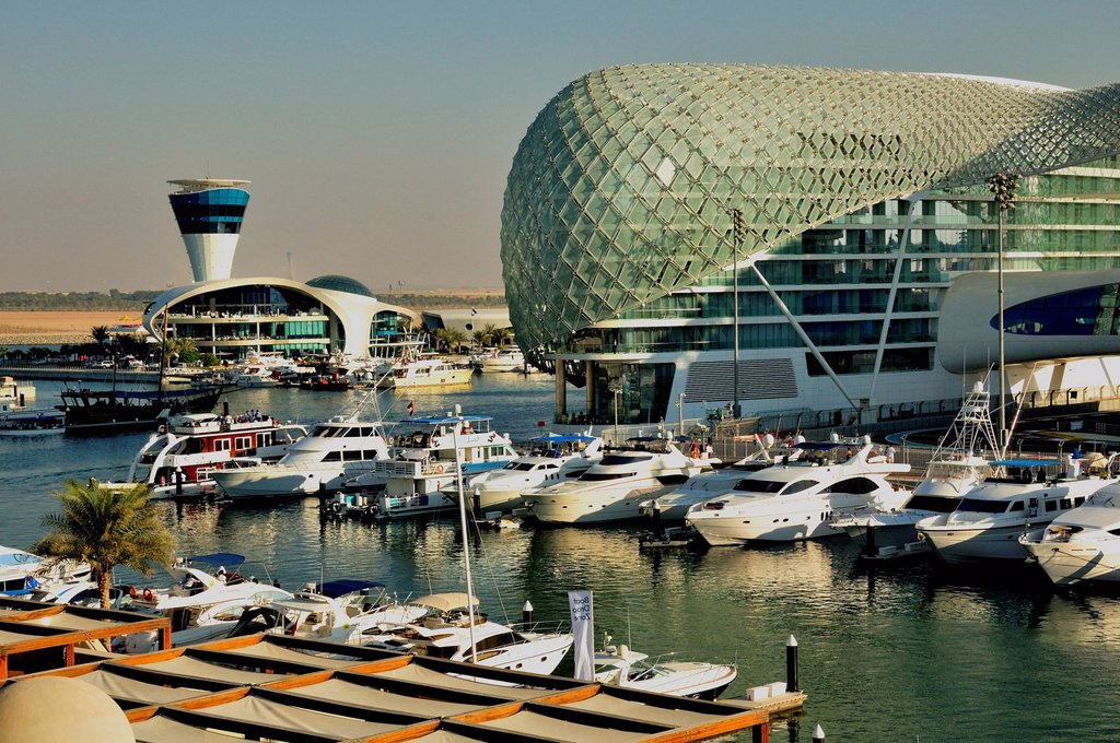 Stock Photo: 1848-714443 Yas Hotel and marina at the Formula One racetrack Yas Marina Circuit on Yas Island, Abu Dhabi, United Arab Emirates, Arabia, Asia