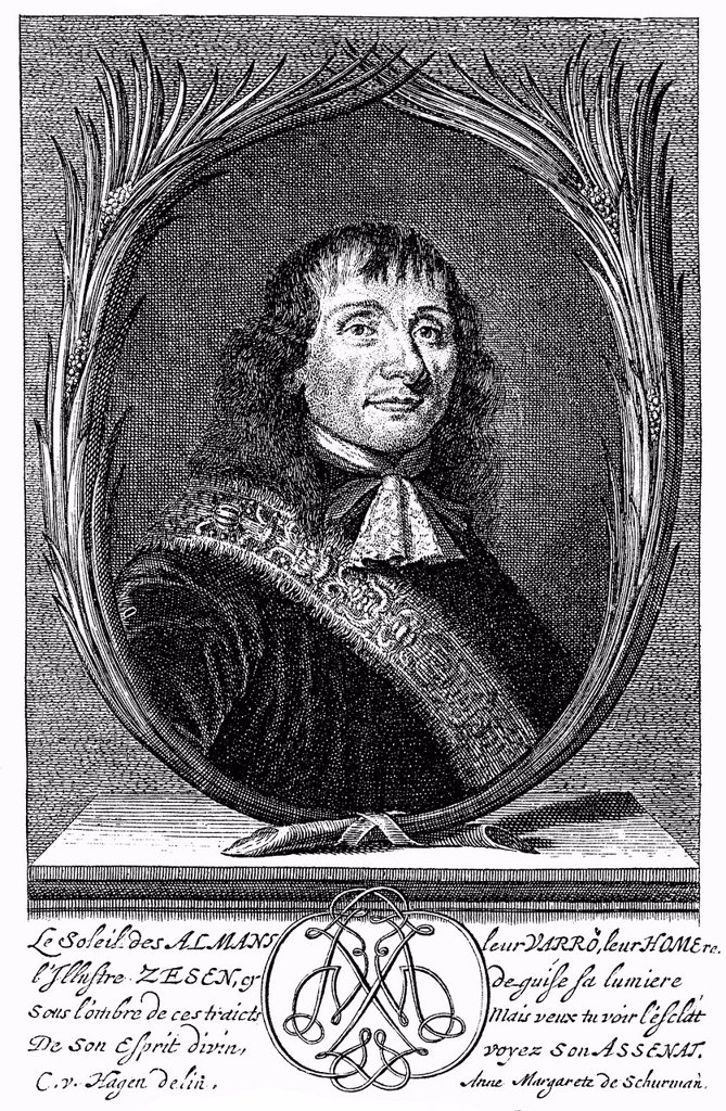 Historic print, portrait of Philipp von Zesen also known as Filip Coesius, Caesius or Ritterhold von Blauen, 1619 _ 1689, a German Protestant hymnwriter and writer, from Bildatlas zur Geschichte der Deutschen Nationalliteratur, an illustrated atlas by Gus. Historic print, portrait of Philipp von Zesen also known as Filip Coesius, Caesius or Ritterhold von Blauen, 1619 _ 1689, a German Protestant hymnwriter and writer, from Bildatlas zur Geschichte der Deutschen Nationalliteratur, an illustrated  : Stock Photo