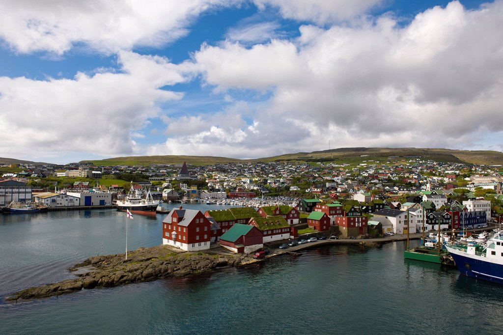 Stock Photo: 1848-714561 Tórshavn on Streymoy, capital of the Faroe Islands, with the red houses of the island administration at the front, group of islands in the North Atlantic, Denmark, Northern Europe