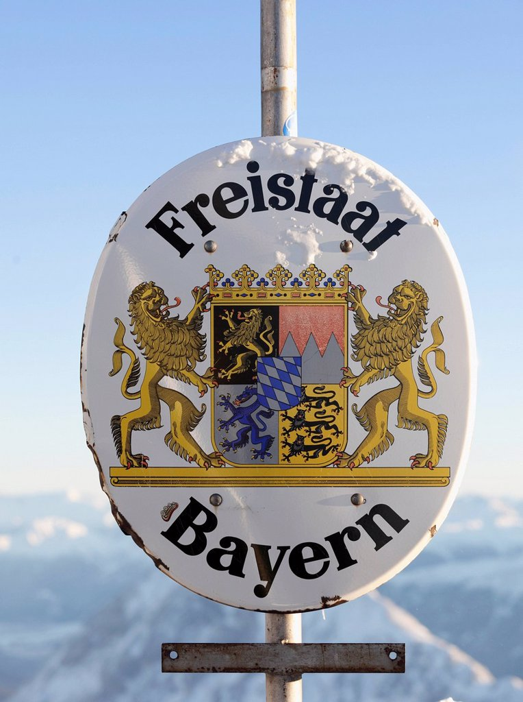 Sign, Freistaat Bayern, Free State of Bavaria, at the summit of Zugspitze Mountain, Bavaria, Germany, Europe : Stock Photo